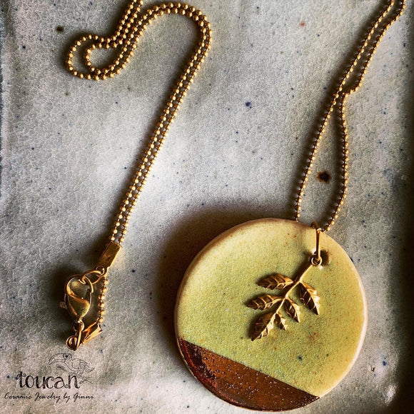 Olive Green : Gold Lined Neckpiece