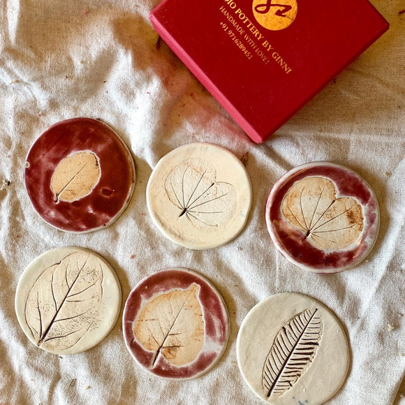 Leafy Coasters - Set of Six Red and White