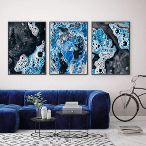 Blue White Paint Swirls Print - Blim & Blum