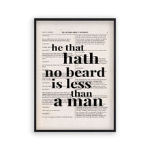 Load image into Gallery viewer, Shakespeare He That Hath No Beard Is Less Than A Man Quote Book Print
