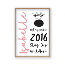 Personalised New Baby Birth Name Animal Print - Blim & Blum