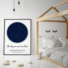 Personalised Stars Day You Were Born Baby Print