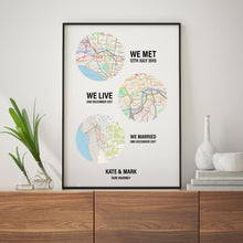 Load image into Gallery viewer, Personalised Couple Location Maps Print