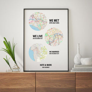 Personalised Couple Location Maps Print