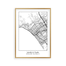 Load image into Gallery viewer, Personalised Favourite Location Couple Map B&W Print - Blim & Blum