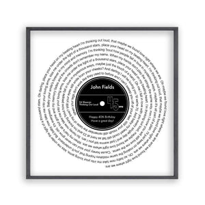 Personalised Favourite Song Lyrics Vinyl Record Print
