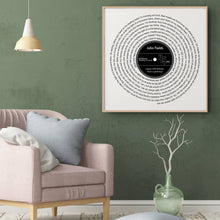 Load image into Gallery viewer, Personalised Favourite Song Lyrics Vinyl Record Print