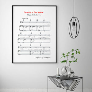 Personalised Favourite Song Music Sheet Notes Print