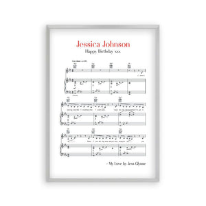Personalised Favourite Song Music Sheet Notes Print - Blim & Blum