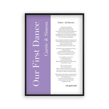 Load image into Gallery viewer, Personalised First Dance Wedding Song Lyrics Music Colour Block Print - Blim & Blum