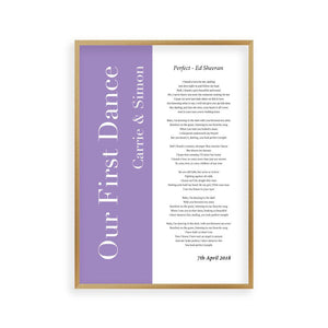 Personalised First Dance Wedding Song Lyrics Music Colour Block Print - Blim & Blum