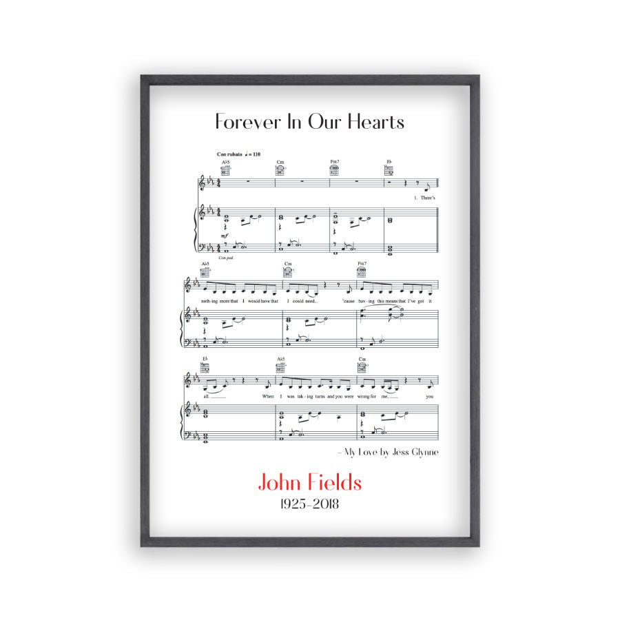 Personalised Funeral Memorial Song Sheet Music Print