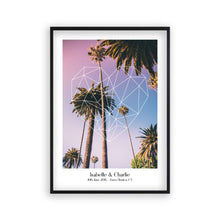 Load image into Gallery viewer, Personalised Geometric Heart Palm Trees Couple Location Print - Blim & Blum