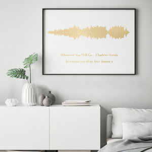 Personalised Gold Foil Favourite Song Sound Wave Print