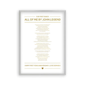 Personalised Gold Foil Wedding Song Lyrics Print - Blim & Blum