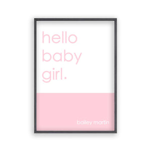 Personalised Hello Baby Girl Print - Blim & Blum