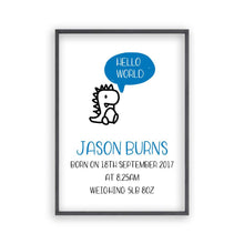 Load image into Gallery viewer, Personalised Hello World Baby Birth Print - Blim & Blum