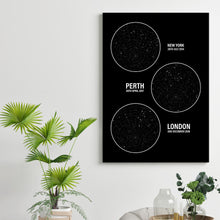 Load image into Gallery viewer, Personalised Star Map Multiple Locations Print