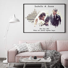 Load image into Gallery viewer, Personalised Photo Sound Wave Wedding Anniversary Print
