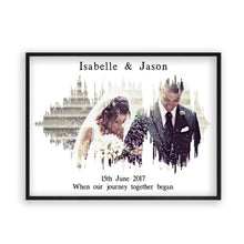 Load image into Gallery viewer, Personalised Photo Sound Wave Wedding Anniversary Print - Blim & Blum