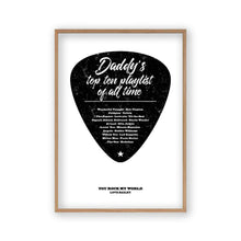 Load image into Gallery viewer, Personalised Top Songs Playlist Guitar Plectrum Print