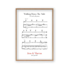 Load image into Gallery viewer, Personalised Walking Down The Aisle Music Sheet Notes Print - Blim & Blum