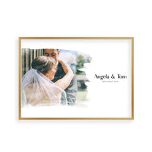 Load image into Gallery viewer, Personalised Watercolour Couple Photo Print - Blim & Blum