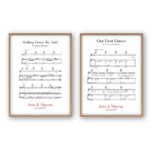 Load image into Gallery viewer, Personalised Wedding Day Sheet Music - Set Of 2 Prints - Blim & Blum