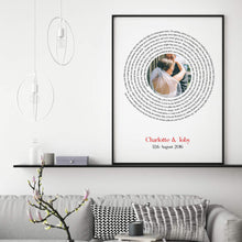 Load image into Gallery viewer, Personalised Wedding Or Couple Photo Song Lyrics First Dance Print