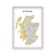 Load image into Gallery viewer, Scotland Typography Map Print - Blim & Blum