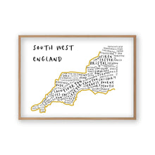 Load image into Gallery viewer, South West England Typography Map Print