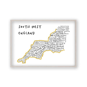 South West England Typography Map Print