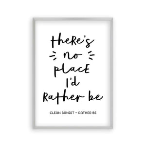 There's No Place I'd Rather Be Lyrics Print - Blim & Blum