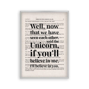 Alice In Wonderland Unicorn Quote Book Print