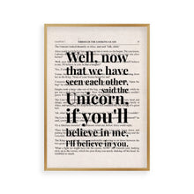 Load image into Gallery viewer, Alice In Wonderland Unicorn Quote Book Print