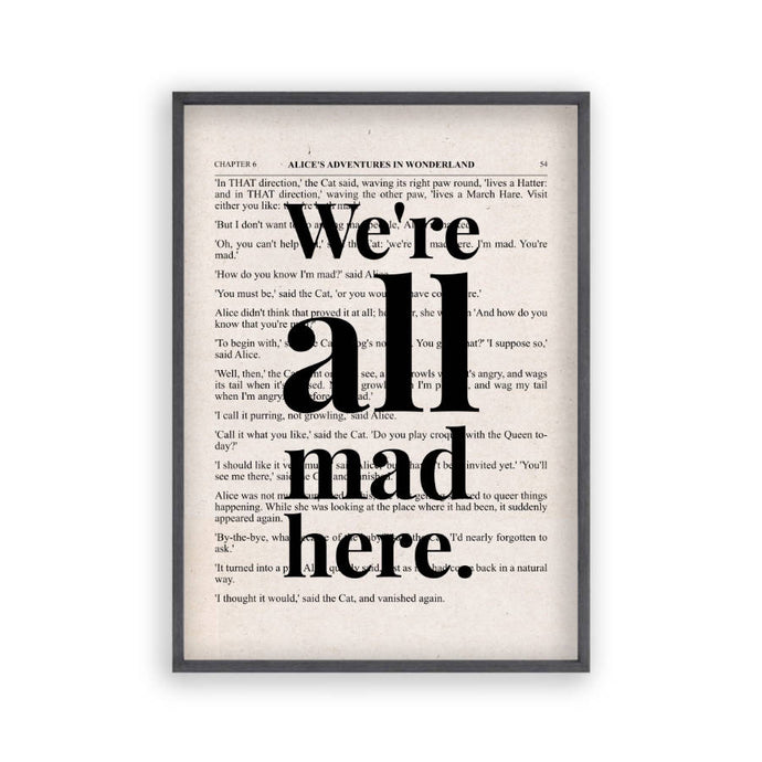 Alice In Wonderland We're All Mad Here Quote Book Print