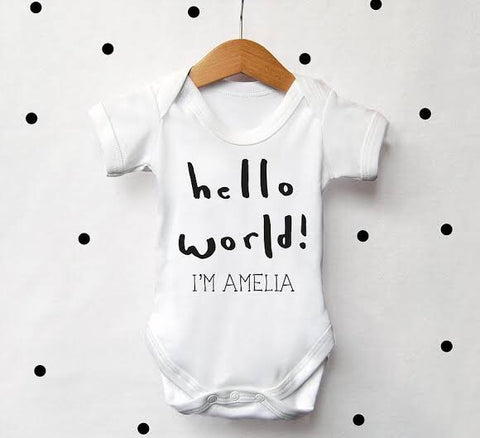 Personalised short sleeve baby grow