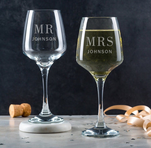 personalised wine glass each
