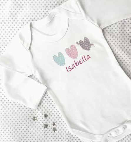Personalised baby grow long sleeve
