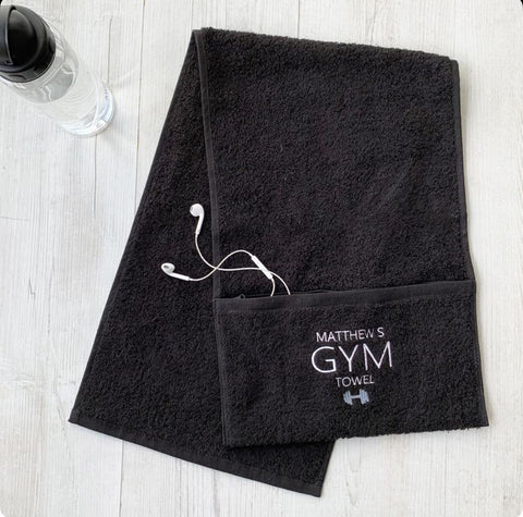 Personalised gym towel with zip pocket