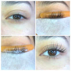 Quad Photo of Model Left for Lash Lift Case Study Requirement