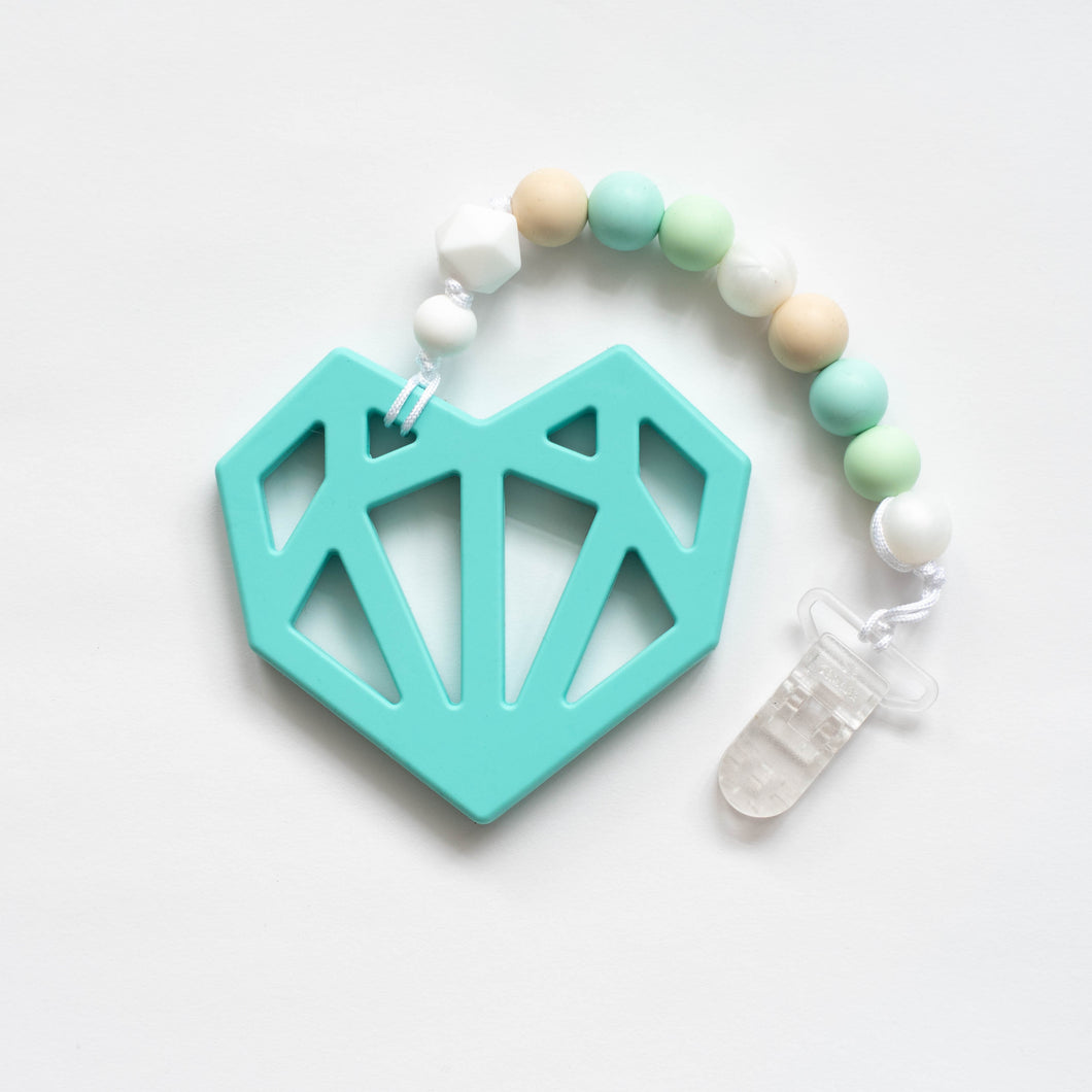 Geometric Heart Teething Clip