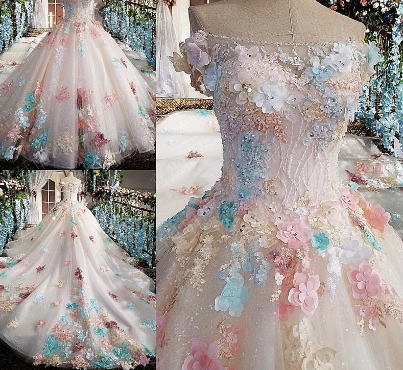 3D flowers beaded Wedding Gowns
