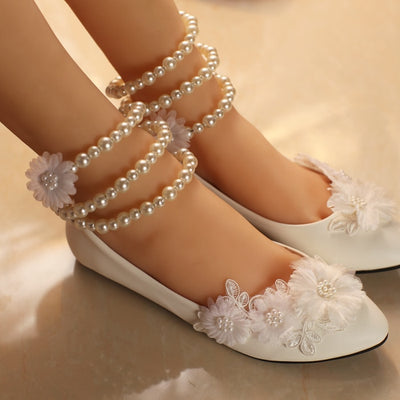 BS40 Sweet Appliques pearls  Bridal flat shoes