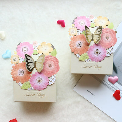 50pcs/lot butterfly and flower Wedding candy boxes