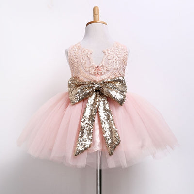 FG313 Bow Sequins Birthday Dress for girls (White/Pink)