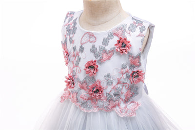 FG19 Gold velvet embroidery Flower Girl Dress(4 Colors)