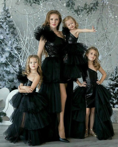 MM11 Family Matching Black Evening Dresses