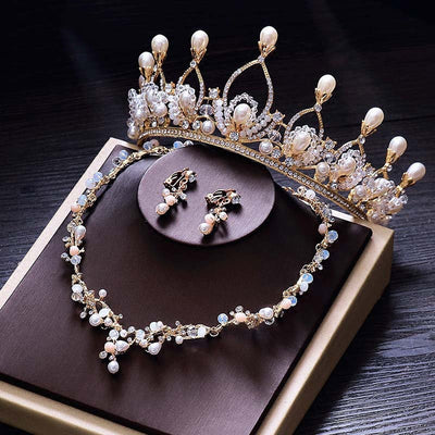BJ84 Set of Bridal Pearl Tiara +Earing + Necklace