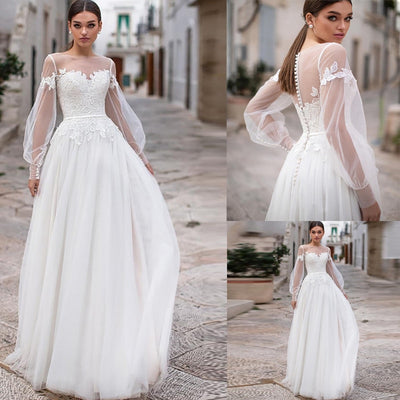 Plus size Puff Long Sleeves Beach Wedding Dresses